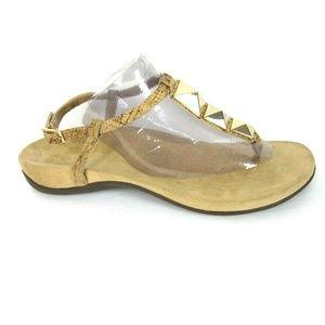 Vionic Nala Gold Thong Sandals Gold Cork EUC 8